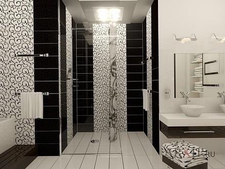 Черно белая ванна дизайн